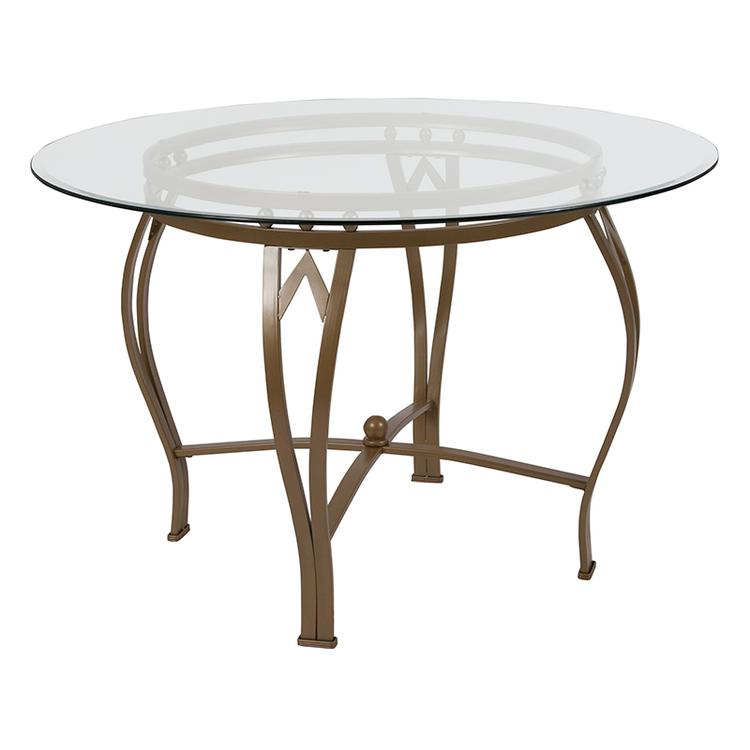 Flash Furniture Syracuse 45'' Round Glass Dining Table with Matte Gold Metal Frame