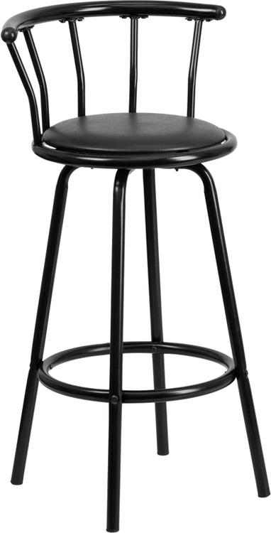 Crown Back Metal Barstool With Vinyl Swivel Seat