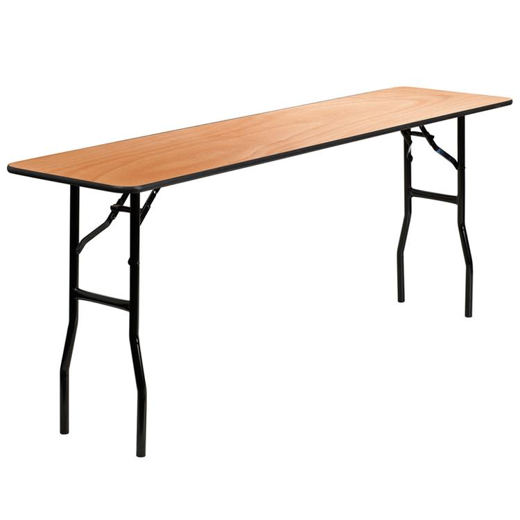 Rectangular Wood Folding Training / Seminar Table With Smooth Clear Ed Finished Top