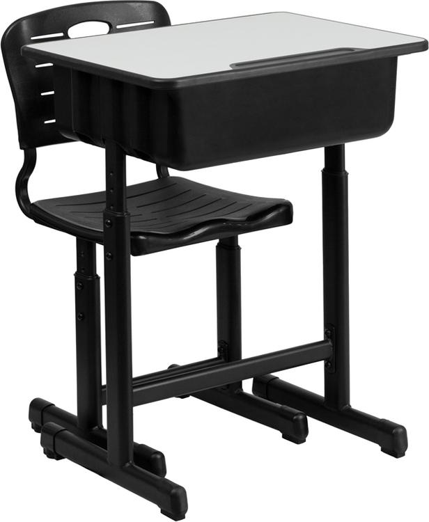 Flash Furniture Adjustable Height Student Desk And Chair With Pedestal Frame