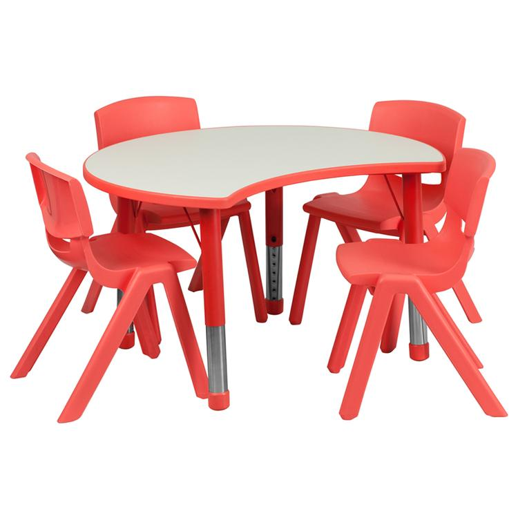 25.125''W x 35.5''L Height Adjustable Cutout Circle Plastic Activity Table Set with 4 School Stack Chairs