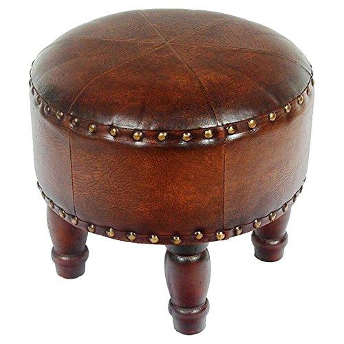 Round Faux Leather Stool