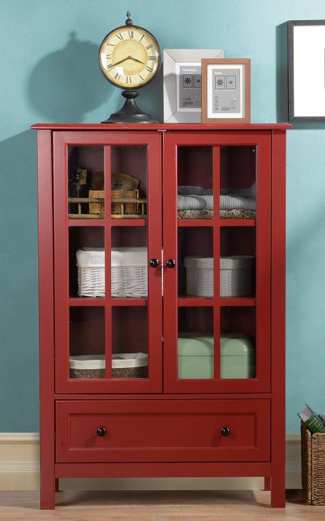 Homestar 2-Door/ 1-Drawer Glass Cabinet