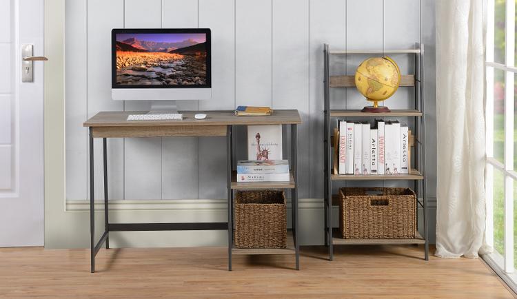Homestar 2-PC Laptop Desk & 4-Shelf Bookcase Set in Reclaimed Wood