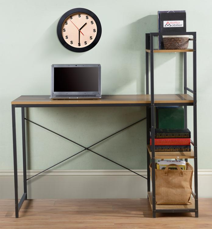 Homestar Desk with built in 4-Shelf Bookcase in Natural Wood - [Z1430260]