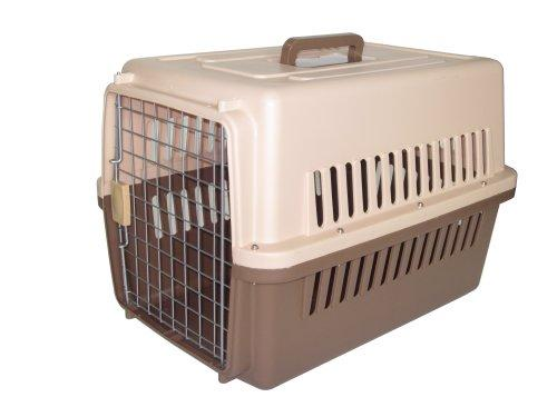 Pet Kennel Travel Carrier - Beige with Drak Brown Bottom, Small 27