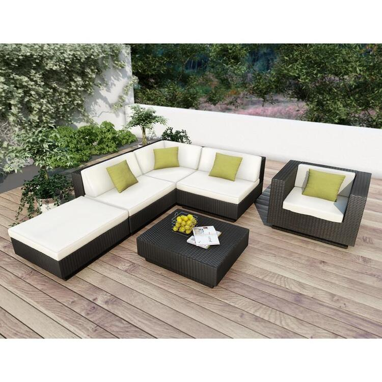 Park Terrace Textured Black 6 Piece Sectional Patio Set