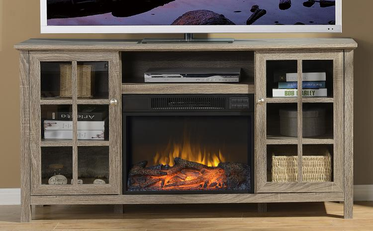 Provence 60 in. Wide Media Fireplace in Reclaimed Wood