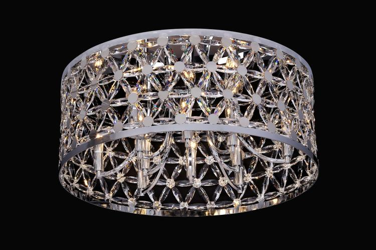 Bethel ZL35F29CH Chrome Frame Flush Mount With Clear Crystal Star Shaped Detailing