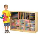Sectional Mobile Cubbie With Clear Trays