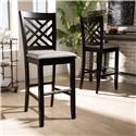 Baxton Studio Jason Modern and Contemporary Grey Fabric Upholstered and Espresso Brown Finished Wood 2-Piece Bar Stool Set