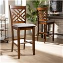 Baxton Studio Jason Modern and Contemporary Grey Fabric Upholstered and Walnut Brown Finished Wood 2-Piece Bar Stool Set