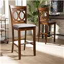 Baxton Studio Carson Modern and Contemporary Grey Fabric Upholstered and Walnut Brown Finished Wood 2-Piece Bar Stool Set