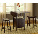 Wenge Drop Leaf Pub With Stools 3pc