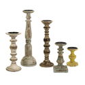 Set of 5 Kanan Wood Candleholders in Distressed Finishes