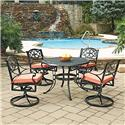 Home Styles Biscayne Black Round 5 Pc Outdoor Dining Table & 4 Swivel Rocking Chairs with Cushions