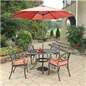 Home Styles Biscayne Rust Bronze Round 7 Pc Outdoor Dining Table, 4 Arm Chairs with Cushions & Umbrella with Base