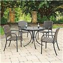 Marble Top 5 Pc Round Outdoor Dining Table & 4 Chairs