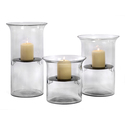Set of 3 Glass and Iron T-Lite Holders