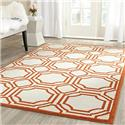 Contemporary Rug - Amherst Polypropylene -Ivory/Orange