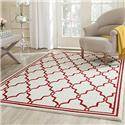 Contemporary Rug - Amherst Polypropylene -Ivory/Red