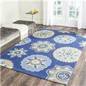 Country & Floral Rug - Four Seasons Polypropylene -Navy Style-A