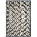 Country & Floral Rug - Four Seasons Polypropylene -Ivory/Blue Style-B