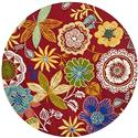 Country & Floral Rug - Four Seasons Polypropylene -Red/Multi