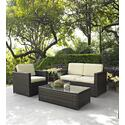 Palm Harbor 3 Piece Outdoor Wicker Seating Set - Loveseat, Chair & Glass Top Table