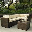 Crosley Palm Harbor 6 Piece Outdoor Wicker Seating Set With Sand Cushions