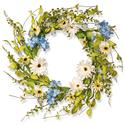 National Tree 20 Inch Floral Branch Wreath with Blue Hydrangeas and White Gerberas