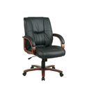 Leather Mid Back Chair with Cherry Finish